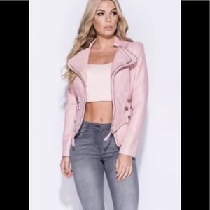 🆕 Natasha Pink Vegan Leather Moto Jacket